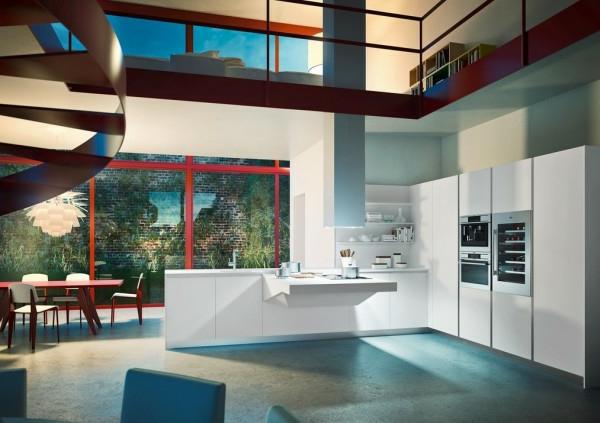 italienische küchenmöbel weiße schränke zwei etagen
