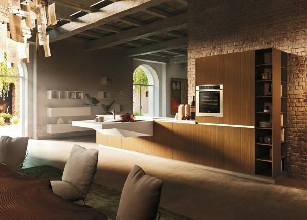italienische küchenmöbel weiche stühle naturholz tisch