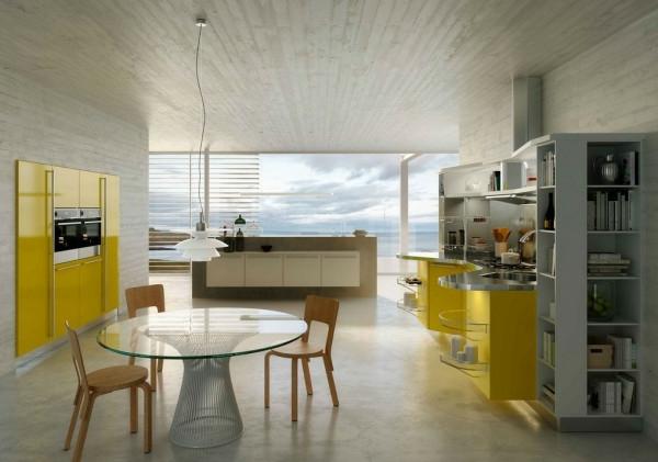 italienische küchenmöbel zitronengelb hochglanz