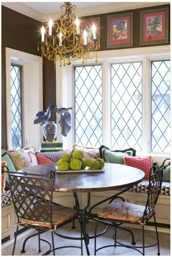 küche design esstisch stühle sitbank fenster kronleuchter