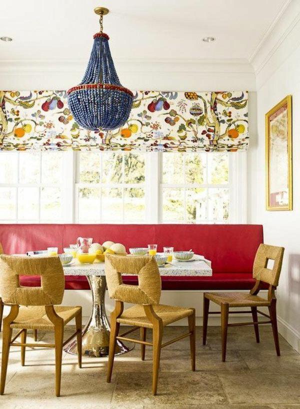 küche design esstisch stühle sitbank küchenbank rote polsterung