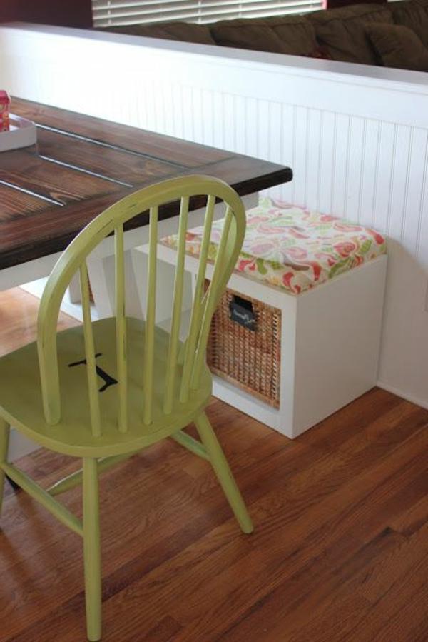 küche design esstisch stühle sitbank stuhl grün holz