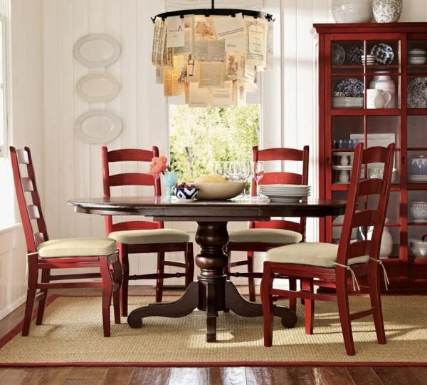 küchendesign rot stühle holz auflagen dunkel tisch platte