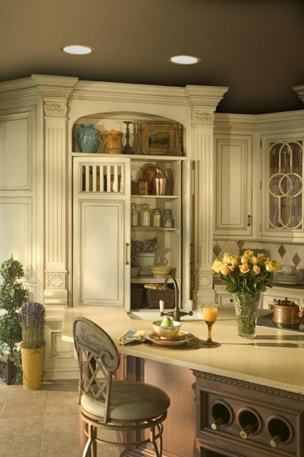 küchendesigns kücheninsel rustikal gelbe rosen