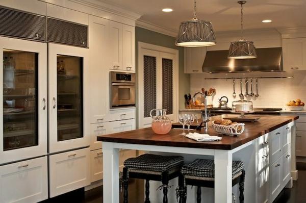 küchendesigns kücheninsel vitrinen kühlschrank