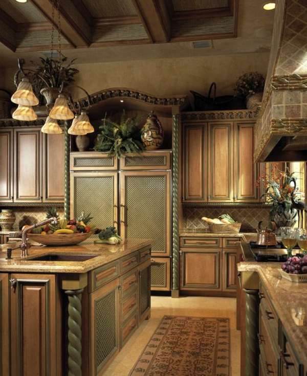 küchen designs marmor teakholz