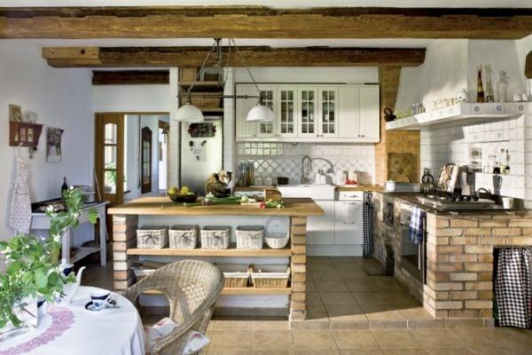 küchen designs offene deckenbalken ziegelsockel