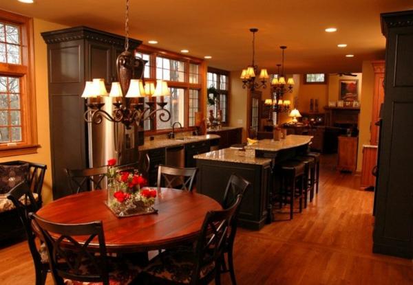 küchen designs offener plan art deco pendelleuchten