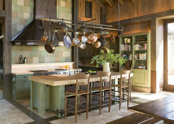 küchendesigns rustikal hohe zimmerdecke