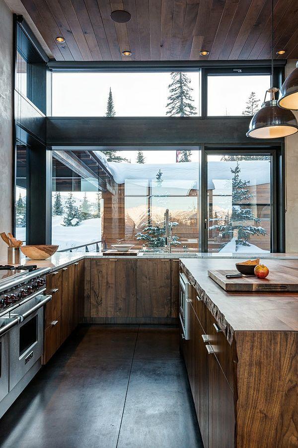 küchen designs schränke untensilien grobes holz