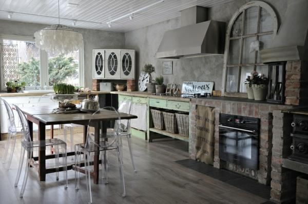 küchen designs shabby chic durchsichtige stühle