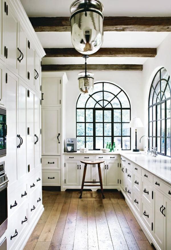küchen designs weiß offenen deckenbalken