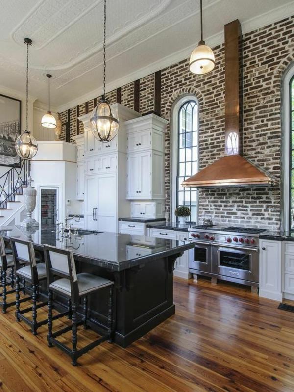 küchen designs ziegelwand kupfer abzugshaube