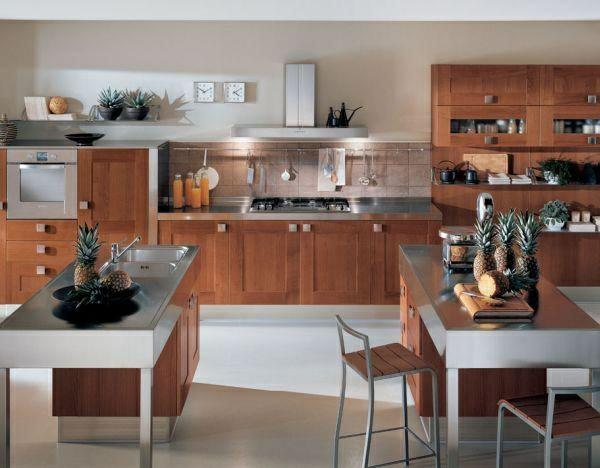 küchendesigns zwei kücheninsel stahl mattglänzend