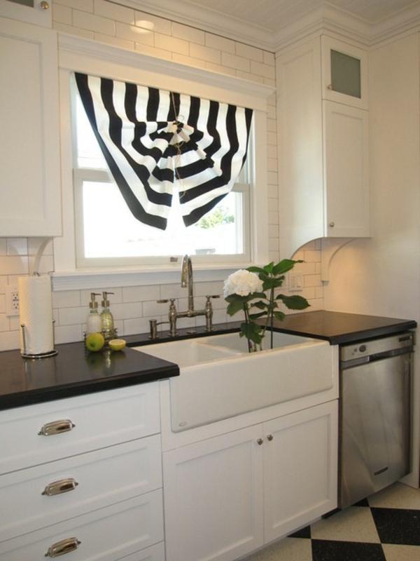 küchen gardinen breite streifen schwarz weiß