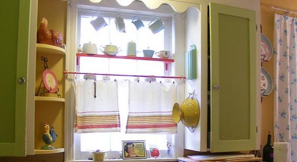küchengardinen bunte streifen kurz