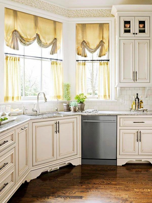 küchengardinen deko vorhänge gold