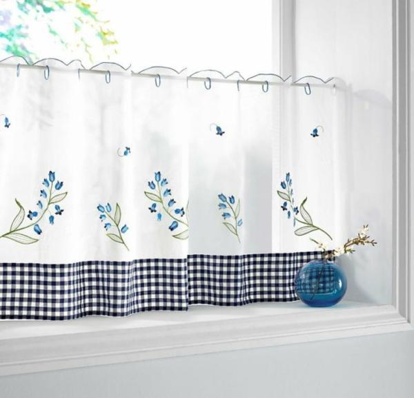 küchengardinen florale muster blau weiß