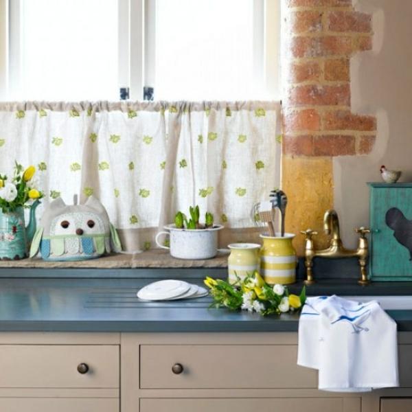 küchengardinen grüne florale muster