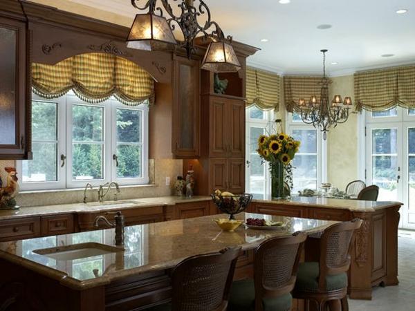küchen gardinen kücheninsel marmor arbeitsplatte