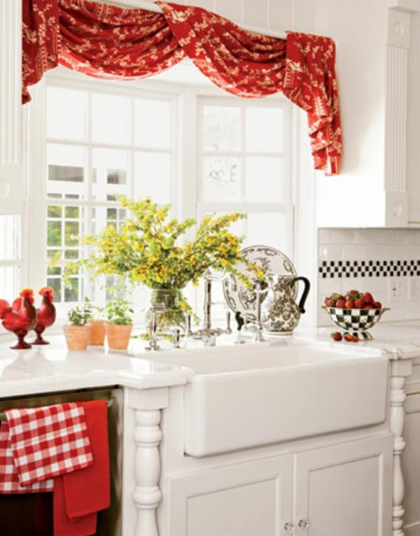 küchen gardinen rot filigrane muster