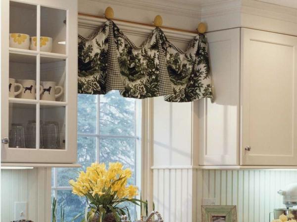küchen gardinen schwarz weiß waldszene