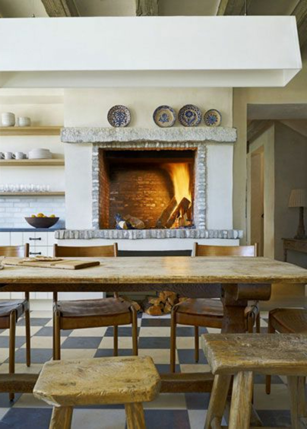 küchenkamin backsteine weiß bemalt