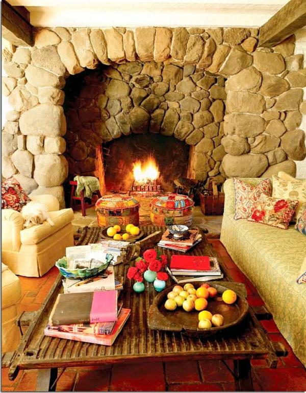 küchenkamin feuerstelle offene steine