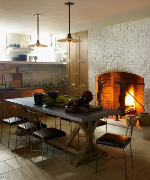 kamin küche einbauen backstein hängelampen