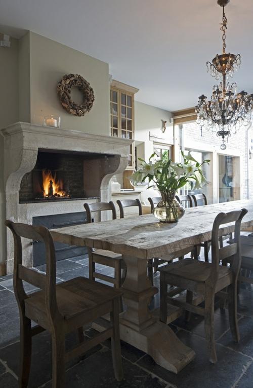 kamin küche einbauen backstein rustikal massiv