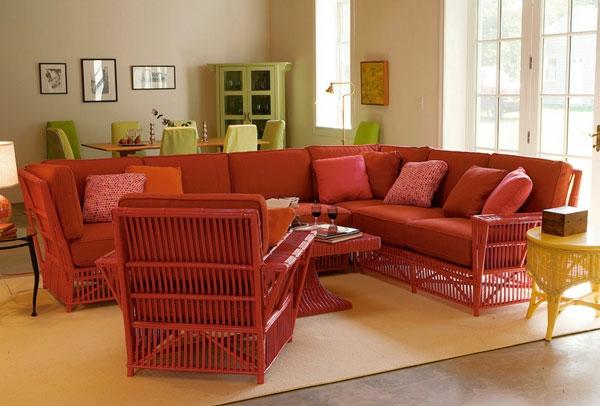 Elegante Korbmöbel für Innen und Außen -> Ecksofa Terracotta
