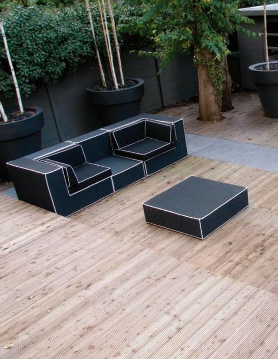loungegartenmöbel minimalistisch schwarz