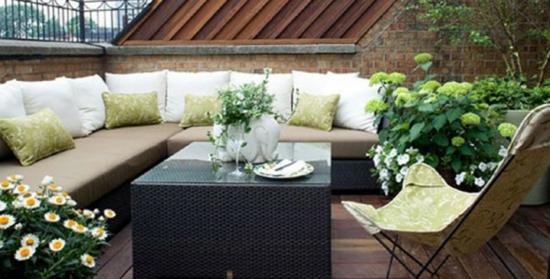 Gartenmobel Bauen Holz : lounge gartenmöbel schwarzer Rattan und Eckcouch
