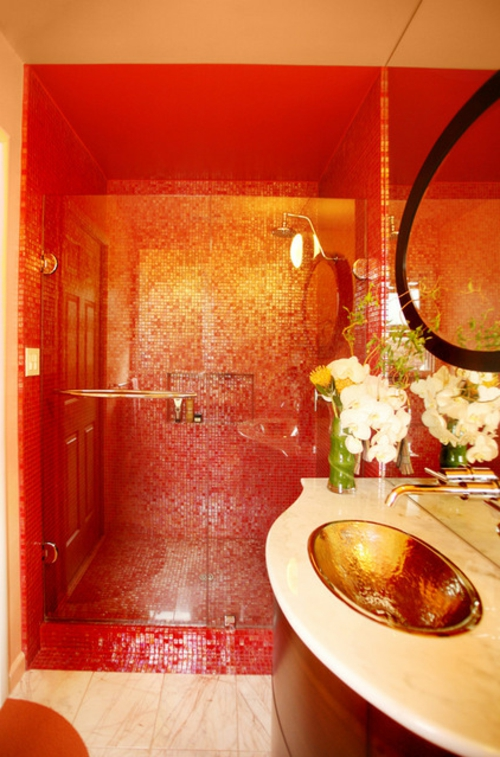 luxusinterieur badezimmer orange mosaik fliesen