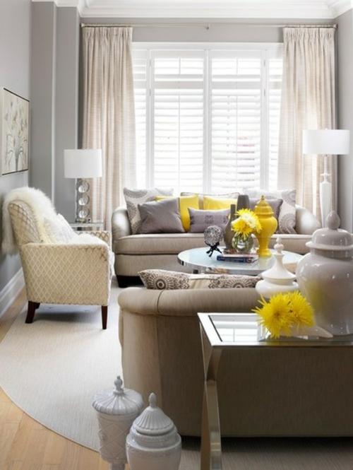 luxusinterieur neutrale helle nuancen gelbe akzente