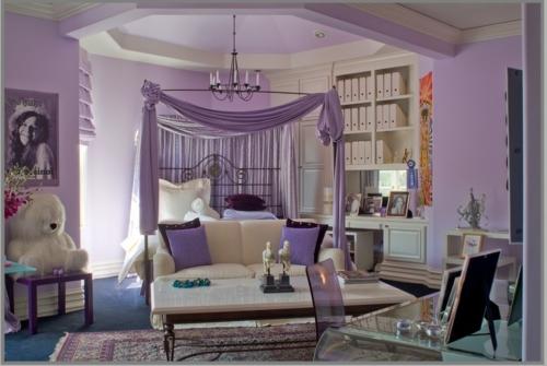 luxus interieur schlafzimmer hell lavendel