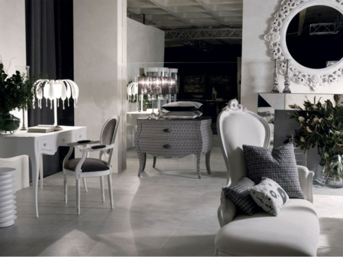 luxus interieur schwarz weiß neobarock