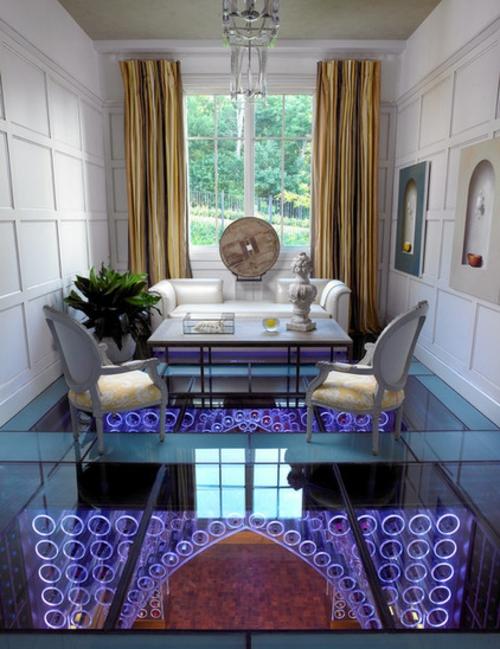 luxusinterieur wohnzimmer glas boden