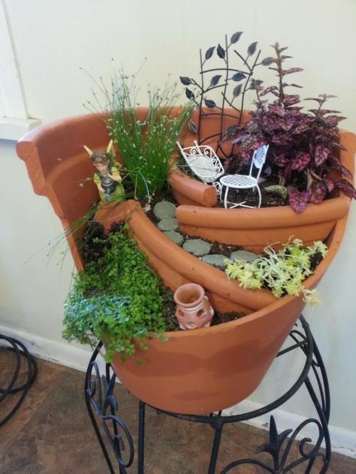 Kreativer minigarten 16 originelle baselideen aus alten for Blumentopf gestalten