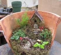 Kreativer Minigarten aus kaputtem Blumentopf