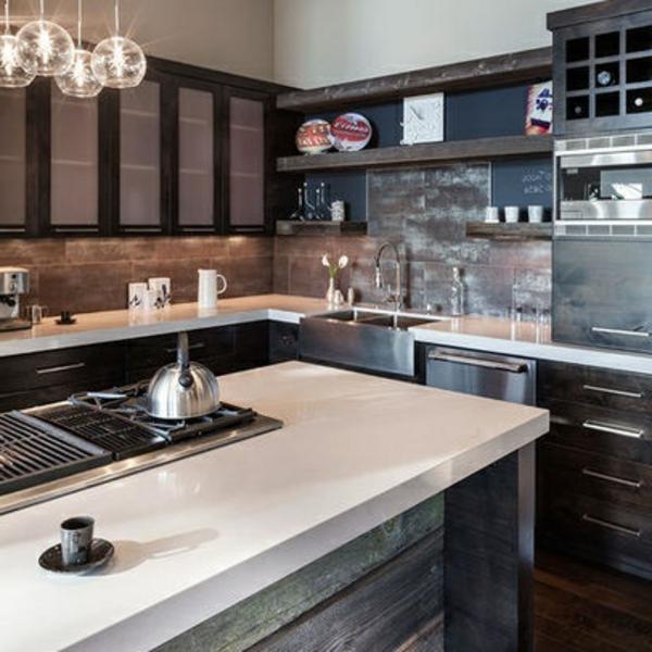 modern rustikal kombiniert küche design stil