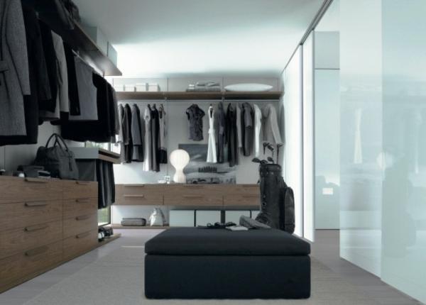 moderne kleiderschränke milchglas helles holz schubladen