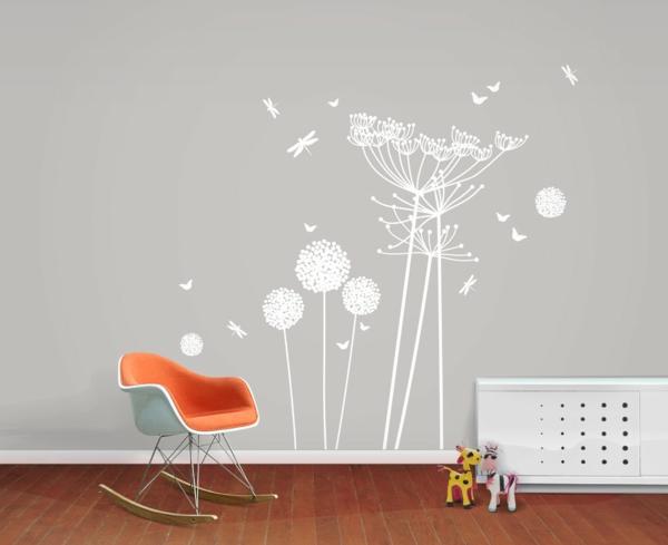 wandtattoos wiesenblumen weiß