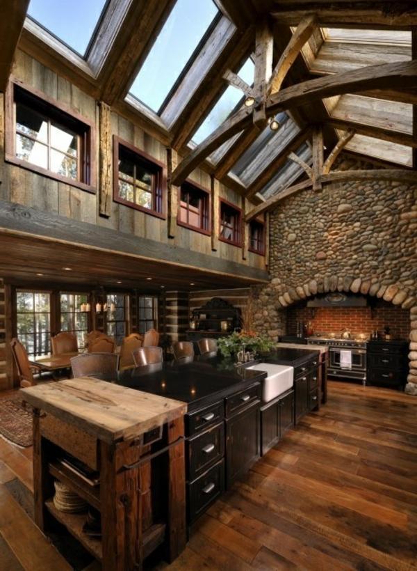 naturstein wandgestaltung küche rustikal massiv holz möbel