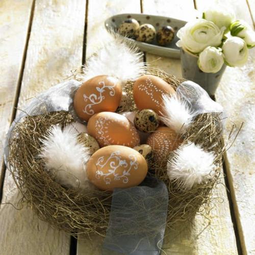 ostern 2014 nest federn ostereier dekoration