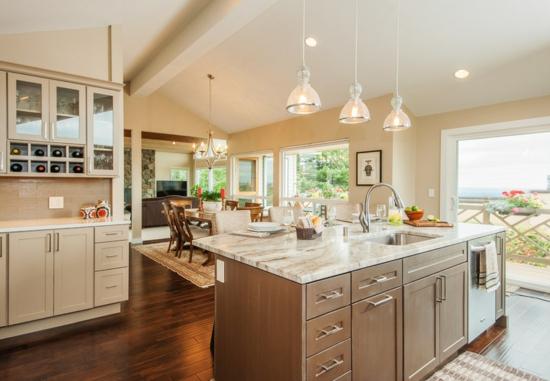 offener wohnbereich wand abreißen küche mit esszimmer insel