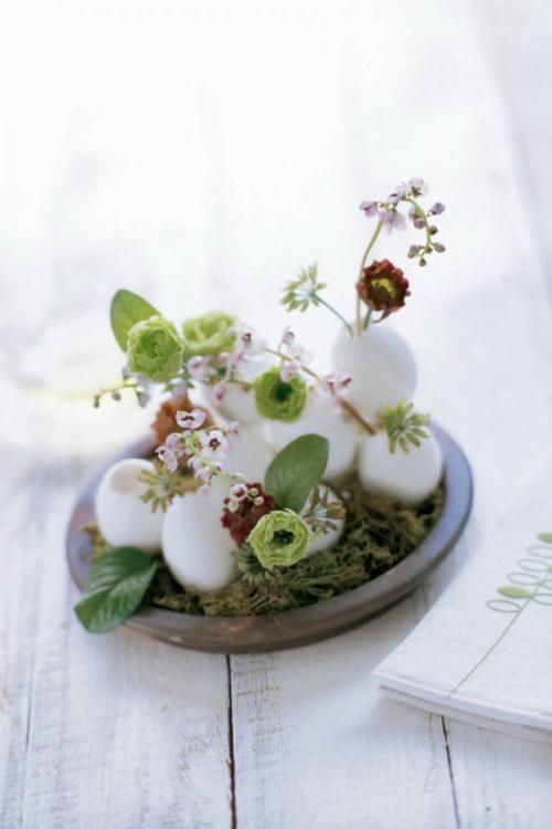 oster deko basteln eierschalen weiß vasen