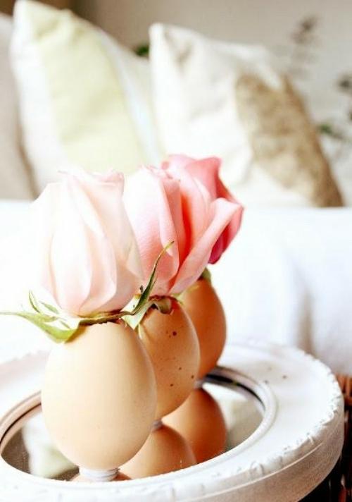 osterdeko basteln naturfarbe rosa rosen