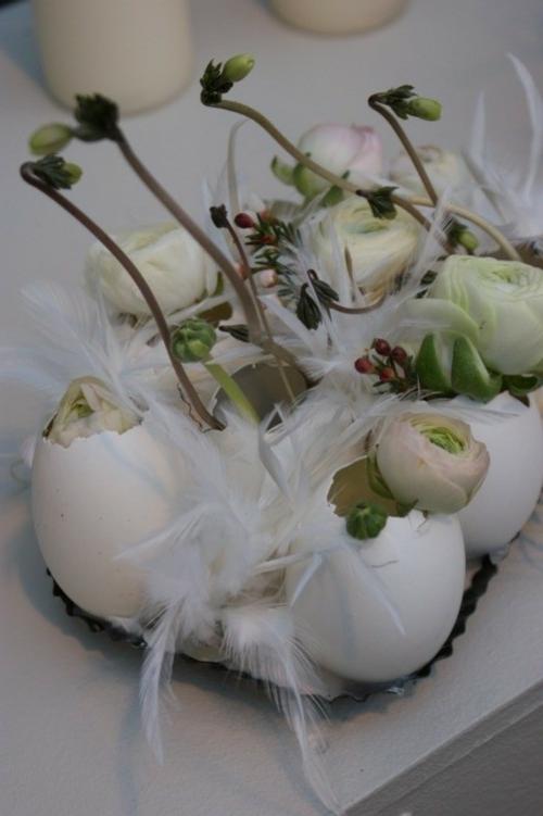 osterdeko basteln weiße feder eierschalen