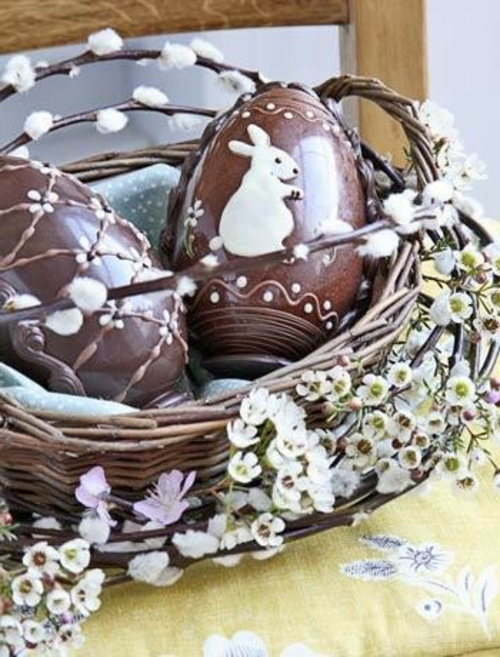 ostereier aus schokolade weidenkorb weidenzweige